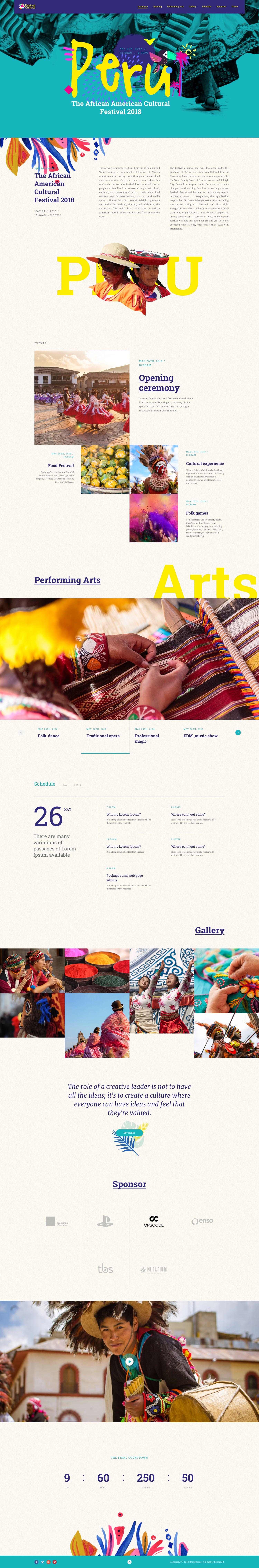 Culture Festival – Landing Page For Festival