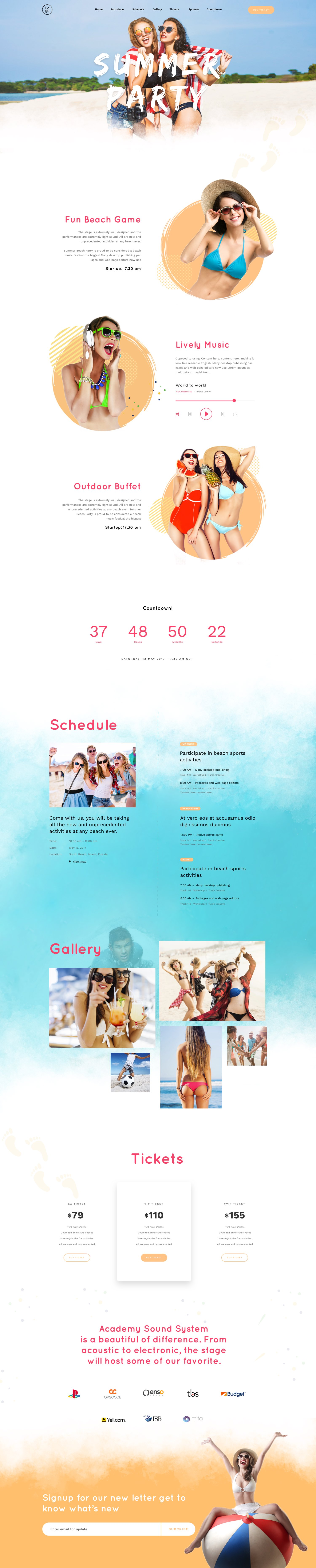 Beach Party – Landing Page For Outdoor Event