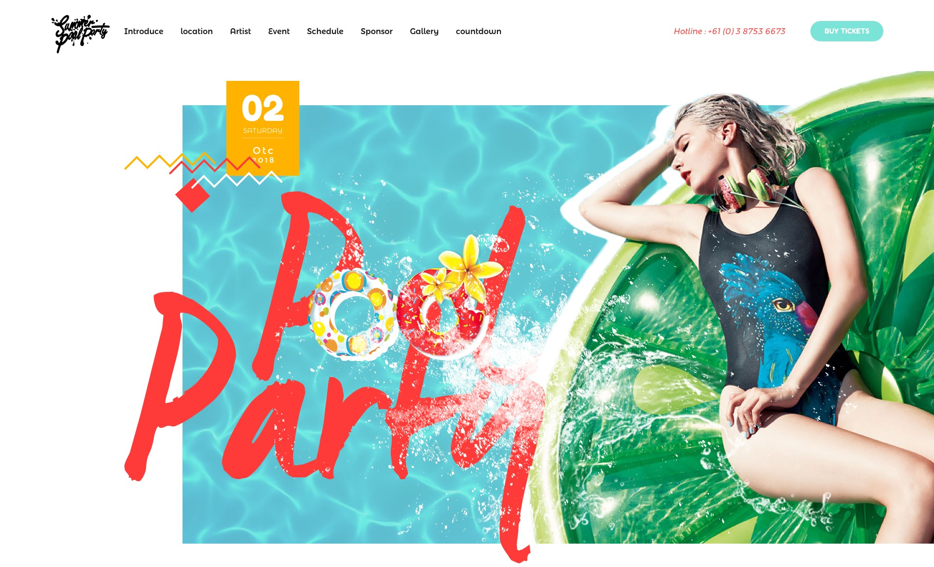 summer pool party wordpress party theme