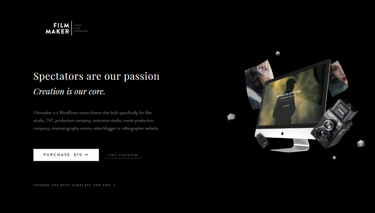 FilmMaker – An Attractive And Best Videographer WordPress theme